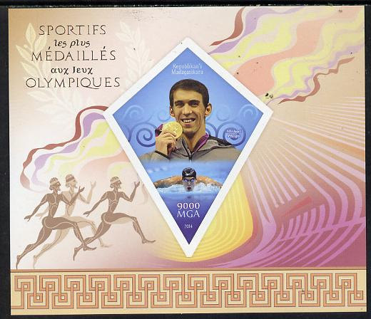 Madagascar 2014 Most Decorated Olympians imperf deluxe sheet containing one diamond shaped value unmounted mint
