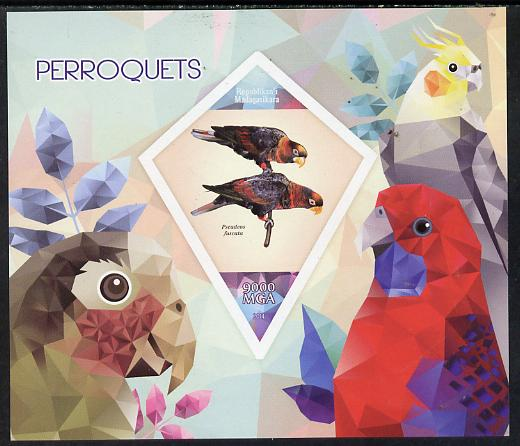 Madagascar 2014 Parrots imperf deluxe sheet containing one diamond shaped value unmounted mint