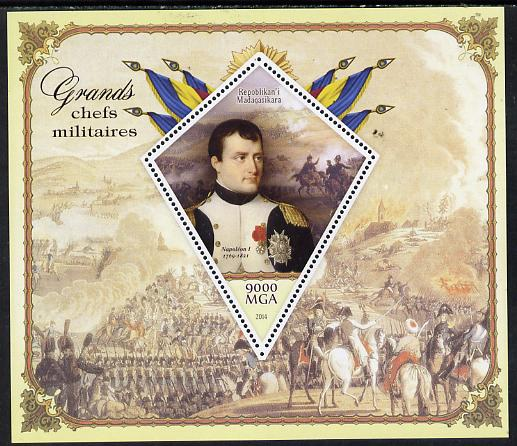 Madagascar 2014 Great Military Leaders perf deluxe sheet containing one diamond shaped value unmounted mint