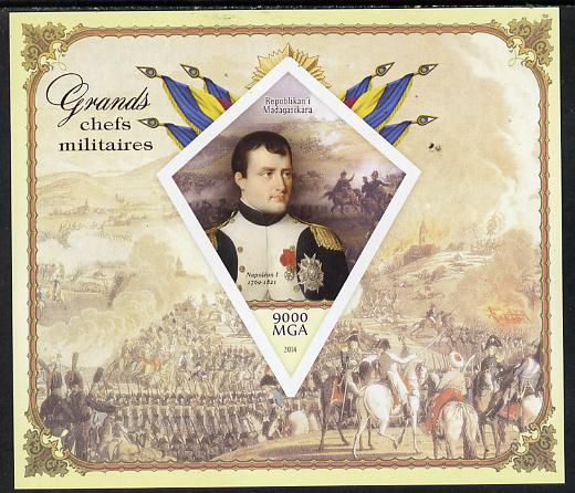 Madagascar 2014 Great Military Leaders imperf deluxe sheet containing one diamond shaped value unmounted mint