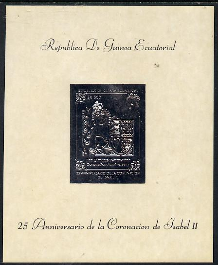 Equatorial Guinea 1978 Coronation 25th Anniversary 500ek embossed in silver foil on glazed card (mottled) unmounted mint