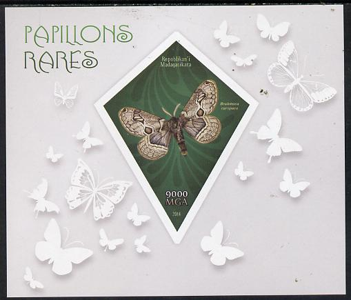 Madagascar 2014 Rare Butterflies imperf deluxe sheet containing one diamond shaped value unmounted mint