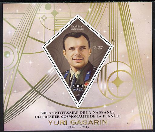 Madagascar 2014 80th Birth Anniversary of Yuri Gagarin perf deluxe sheet containing one diamond shaped value unmounted mint