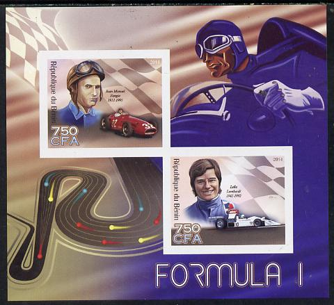 Benin 2014 Formula 1 imperf sheetlet containing 2 values unmounted mint