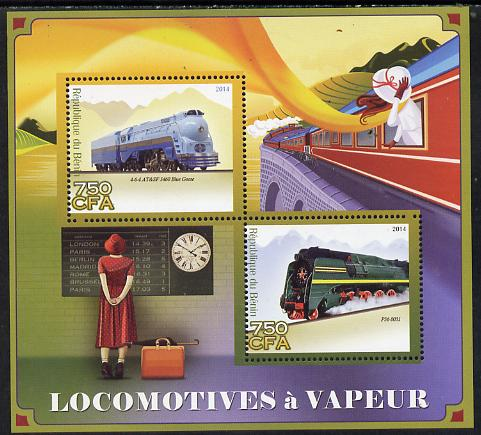 Benin 2014 Steam Locomotives perf sheetlet containing 2 values unmounted mint