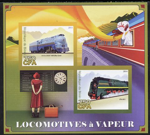 Benin 2014 Steam Locomotives imperf sheetlet containing 2 values unmounted mint