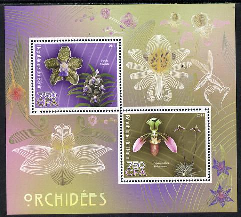 Benin 2014 Orchids perf sheetlet containing 2 values unmounted mint