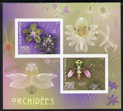 Benin 2014 Orchids imperf sheetlet containing 2 values unmounted mint