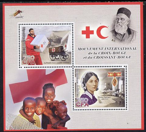 Benin 2014 Red Cross perf sheetlet containing 2 values unmounted mint