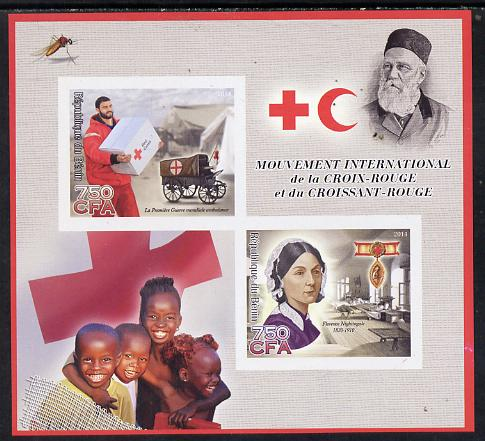 Benin 2014 Red Cross imperf sheetlet containing 2 values unmounted mint