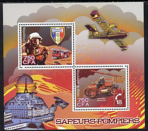 Benin 2014 Fire Fighting perf sheetlet containing 2 values unmounted mint