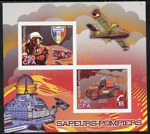 Benin 2014 Fire Fighting imperf sheetlet containing 2 values unmounted mint