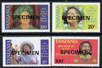 Tanzania 1985 Life & Times of HM Queen Mother perf set of 4 unmounted mint each inscribed in error 'HRH the Queen Mother' opt'd SPECIMEN*
