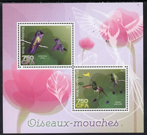 Benin 2014 Hummingbirds perf sheetlet containing 2 values unmounted mint