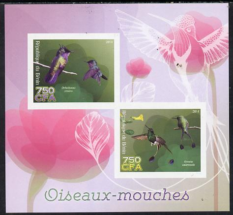 Benin 2014 Hummingbirds imperf sheetlet containing 2 values unmounted mint