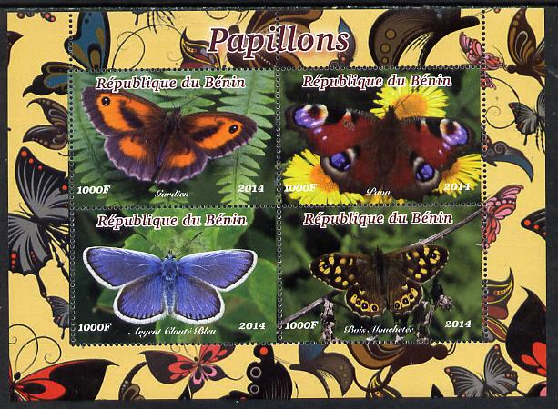 Benin 2014 Butterflies perf sheetlet containing 4 values unmounted mint. Note this item is privately produced and is offered purely on its thematic appeal