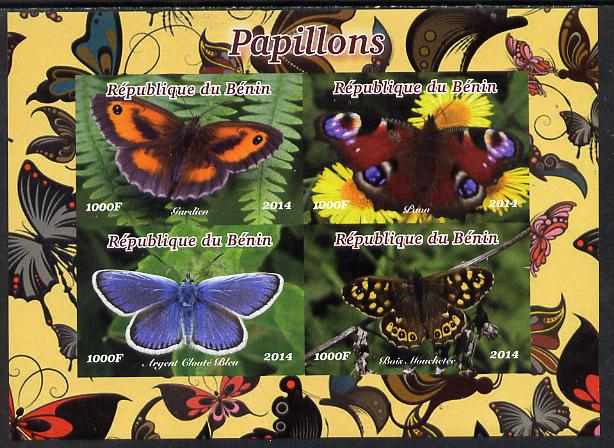 Benin 2014 Butterflies imperf sheetlet containing 4 values unmounted mint. Note this item is privately produced and is offered purely on its thematic appeal