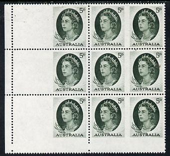Booklet - Australia 1964 QEII 5d green unmounted mint block of 9 plus 3 blank labels (as illustrated in SG) being the booklet pane of 6 plus extras from the uncut sheet
