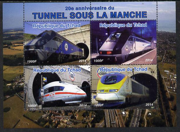 Chad 2014 20th Anniversary of Channel Tunnel perf sheetlet containing 4 values unmounted mint. Note this item is privately produced and is offered purely on its thematic appeal. .