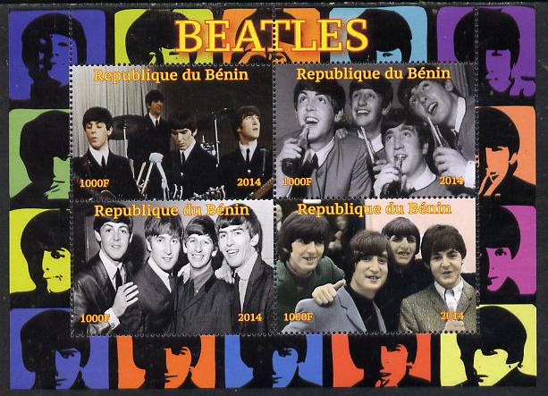 Benin 2014 The Beatles perf sheetlet containing 4 values unmounted mint. Note this item is privately produced and is offered purely on its thematic appeal