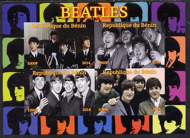 Benin 2014 The Beatles imperf sheetlet containing 4 values unmounted mint. Note this item is privately produced and is offered purely on its thematic appeal