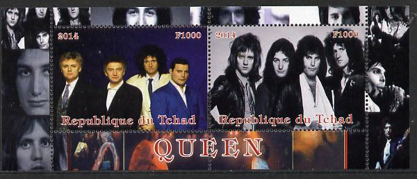 Chad 2014 Queen (pop group) perf sheetlet containing 2 values unmounted mint. Note this item is privately produced and is offered purely on its thematic appeal. .