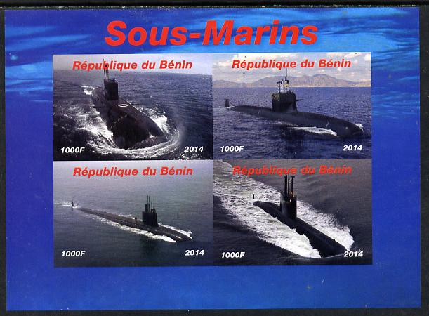 Benin 2014 Submarines imperf sheetlet containing 4 values unmounted mint. Note this item is privately produced and is offered purely on its thematic appeal