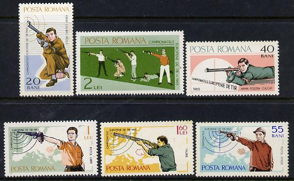 Rumania 1965 Shooting Championships perf set of 6 unmounted mint, SG 3274-79, Mi 2407-12*