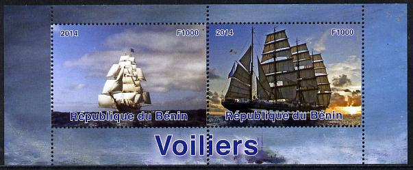 Benin 2014 Sailing Ships perf sheetlet containing 2 values unmounted mint. Note this item is privately produced and is offered purely on its thematic appeal