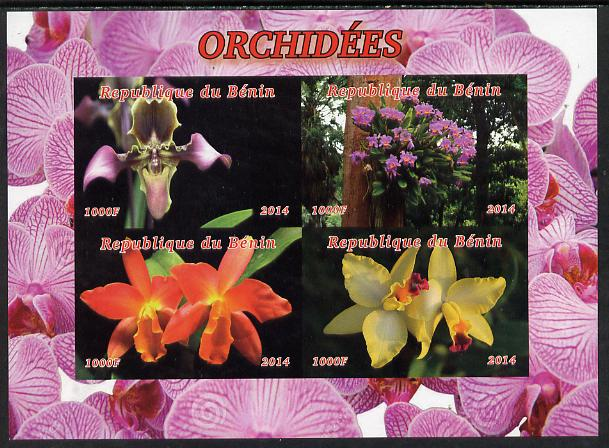 Benin 2014 Orchids imperf sheetlet containing 4 values unmounted mint. Note this item is privately produced and is offered purely on its thematic appeal