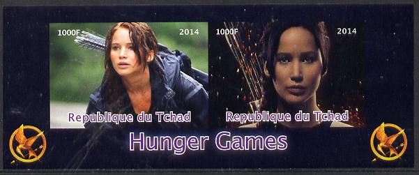 Chad 2014 Hunger Games #1 imperf sheetlet containing 2 values unmounted mint. Note this item is privately produced and is offered purely on its thematic appeal. .