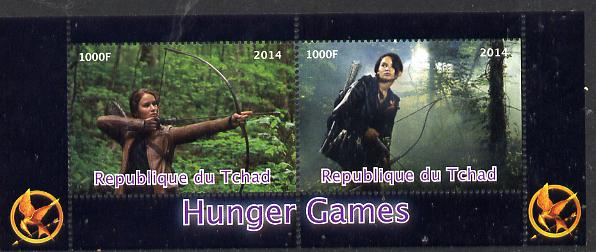 Chad 2014 Hunger Games #2 perf sheetlet containing 2 values unmounted mint. Note this item is privately produced and is offered purely on its thematic appeal. .