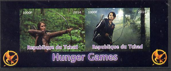 Chad 2014 Hunger Games #2 imperf sheetlet containing 2 values unmounted mint. Note this item is privately produced and is offered purely on its thematic appeal. . , stamps on films, stamps on cinema, stamps on movies, stamps on archery