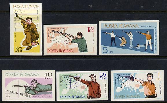 Rumania 1965 Shooting Championships IMPERF set of 6 unmounted mint, SG 3280-85, Mi 2413-18*