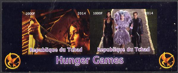 Chad 2014 Hunger Games #3 imperf sheetlet containing 2 values unmounted mint. Note this item is privately produced and is offered purely on its thematic appeal. .