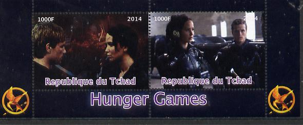 Chad 2014 Hunger Games #4 perf sheetlet containing 2 values unmounted mint. Note this item is privately produced and is offered purely on its thematic appeal. .