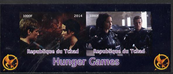 Chad 2014 Hunger Games #4 imperf sheetlet containing 2 values unmounted mint. Note this item is privately produced and is offered purely on its thematic appeal. .