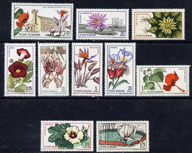 Rumania 1965 Botanical Gardens (Flowers) set of 10 unmounted mint, SG 3314-23, Mi 2442-51*
