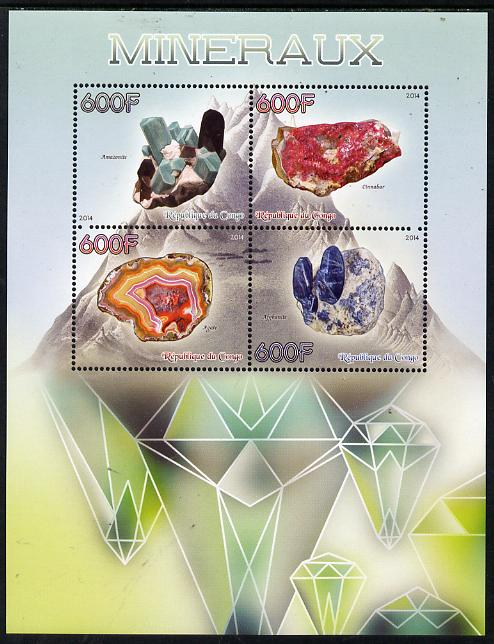 Congo 2014 Minerals perf sheetlet containing 4 values unmounted mint