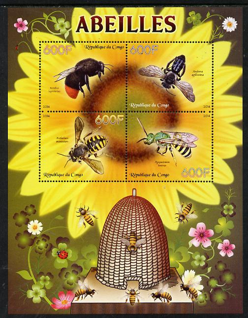 Congo 2014 Bees perf sheetlet containing 4 values unmounted mint