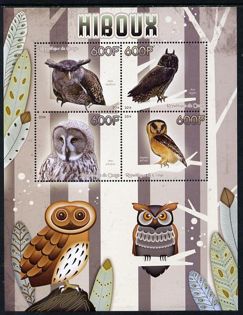 Congo 2014 Owls perf sheetlet containing 4 values unmounted mint