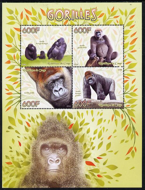 Congo 2014 Gorillals perf sheetlet containing 4 values unmounted mint