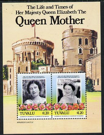 Tuvalu 1985 Life & Times of HM Queen Mother (Leaders of the World) m/sheet showing Windsor Castle unmounted mint, SG MS 342