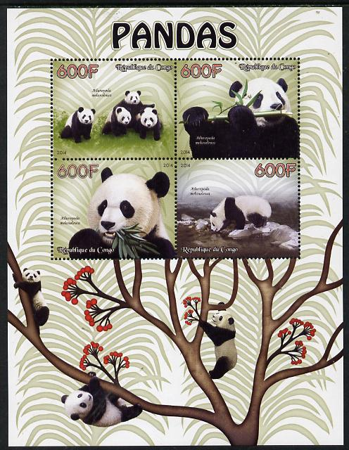 Congo 2014 Pandas perf sheetlet containing 4 values unmounted mint