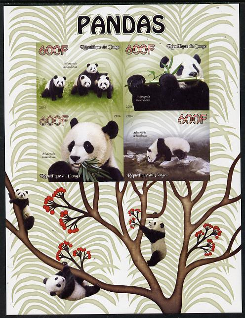 Congo 2014 Pandas imperf sheetlet containing 4 values unmounted mint