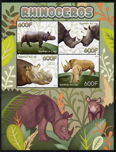 Congo 2014 Rhinos perf sheetlet containing 4 values unmounted mint