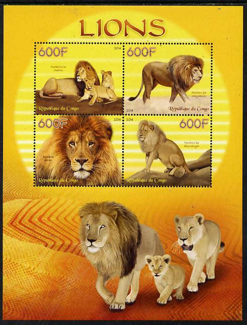 Congo 2014 Lions perf sheetlet containing 4 values unmounted mint