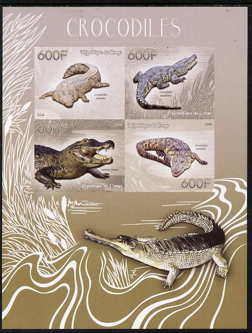 Congo 2014 Crocodiles imperf sheetlet containing 4 values unmounted mint