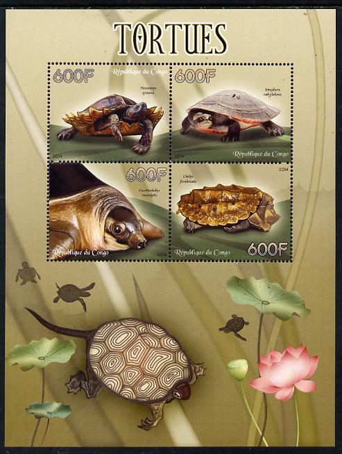 Congo 2014 Turtles perf sheetlet containing 4 values unmounted mint