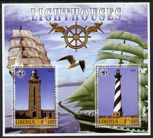 Liberia 2005 Lighthouses perf sheetlet containing 2 values unmounted mint (slight wrinkle in corner)